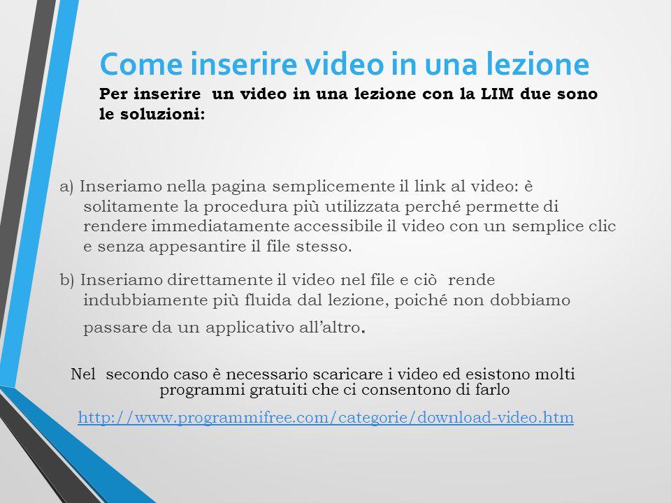 Come inserire video in una lezione Per inserire un video in una lezione con la LIM due sono le soluzioni: