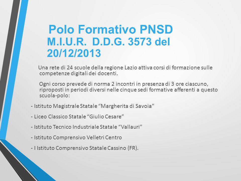 Polo Formativo PNSD M.I.U.R. D.D.G. 3573 del 20/12/2013
