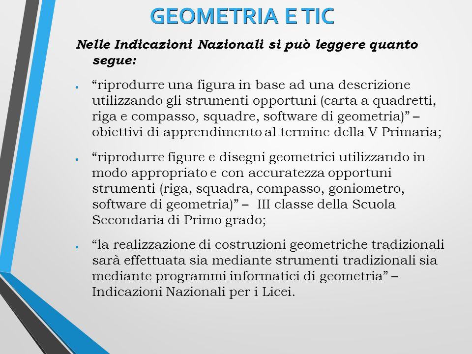 GEOMETRIA E TIC Nelle Indicazioni Nazionali si può leggere quanto segue: