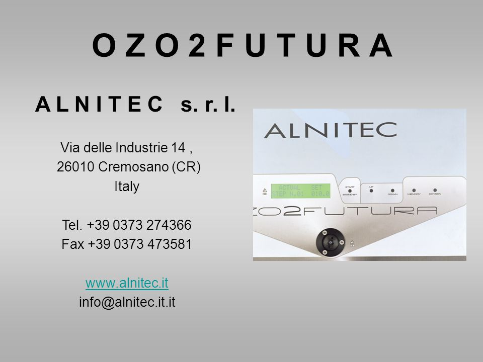 O Z O 2 F U T U R A A L N I T E C s. r. l. Via delle Industrie 14 ,