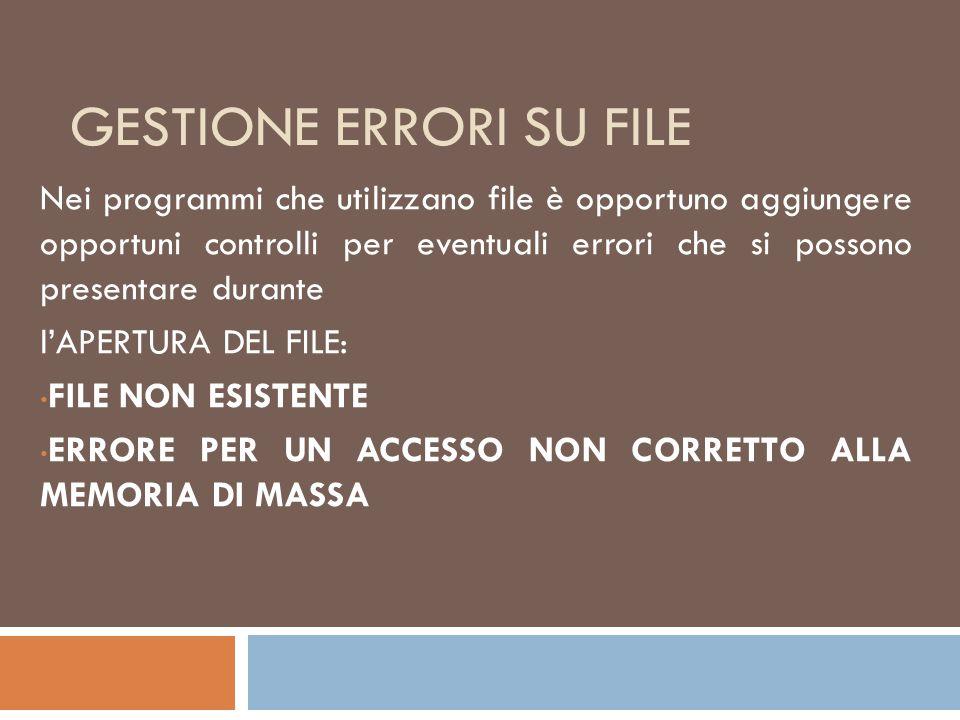 Gestione errori su file
