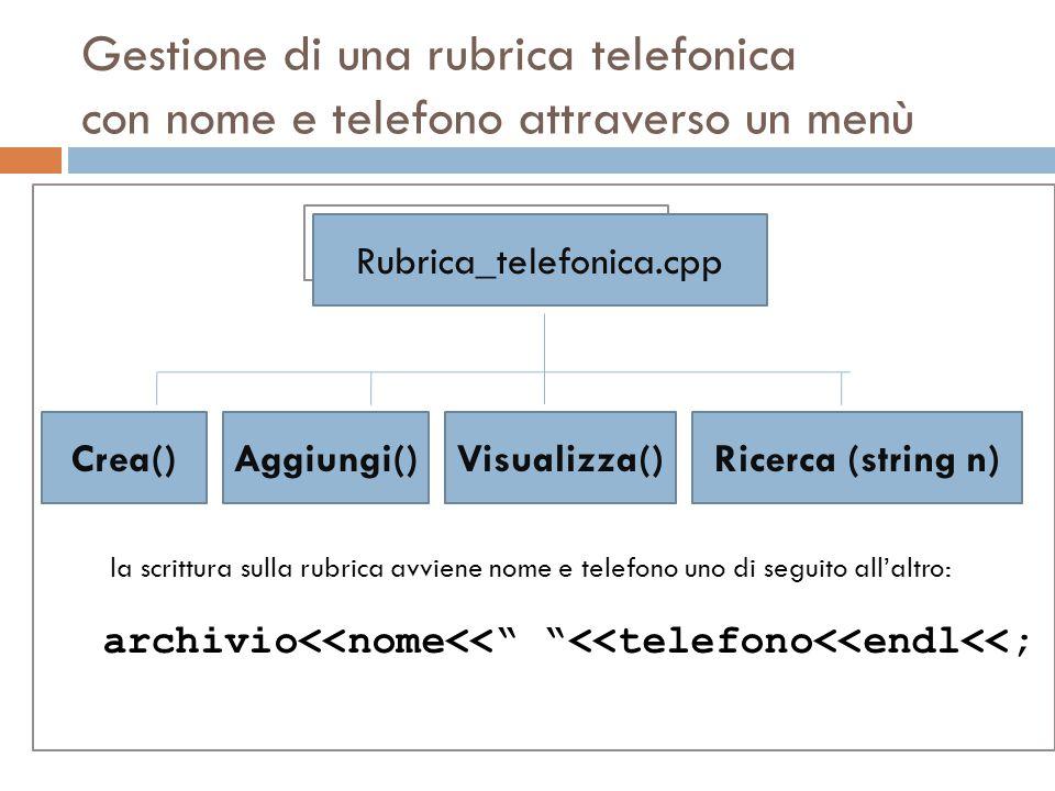 Gestione di una rubrica telefonica con nome e telefono attraverso un menù