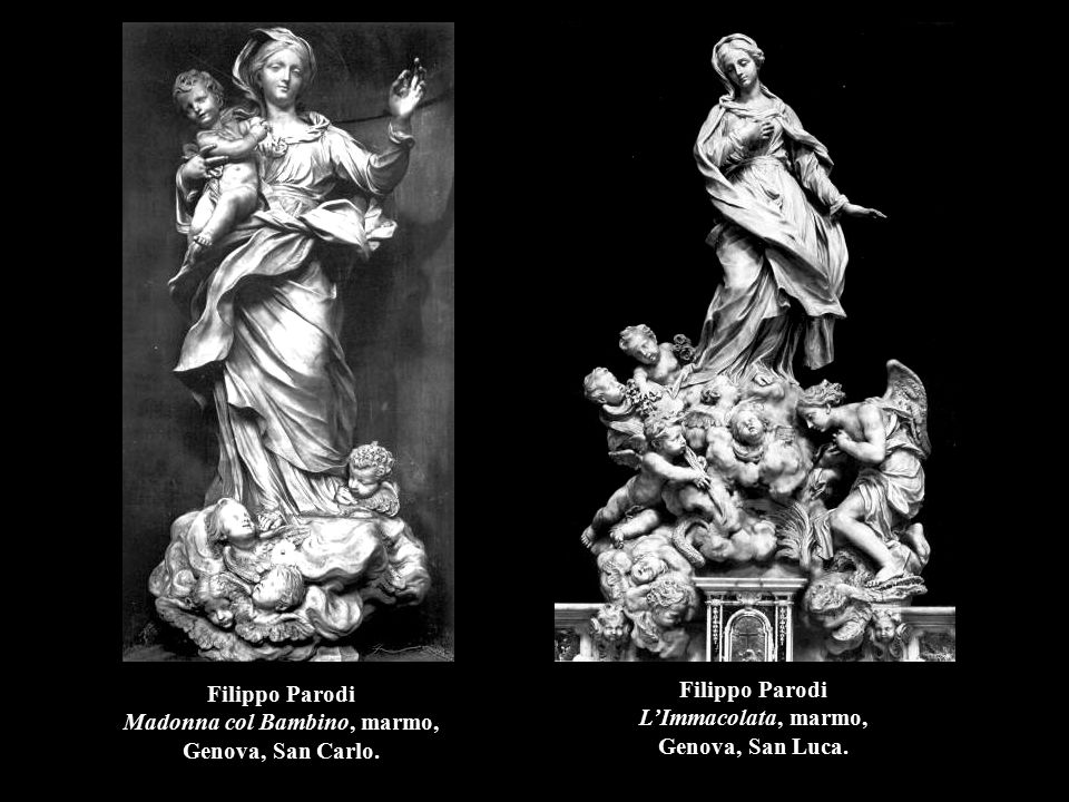 Filippo Parodi Madonna col Bambino, marmo, Genova, San Carlo.