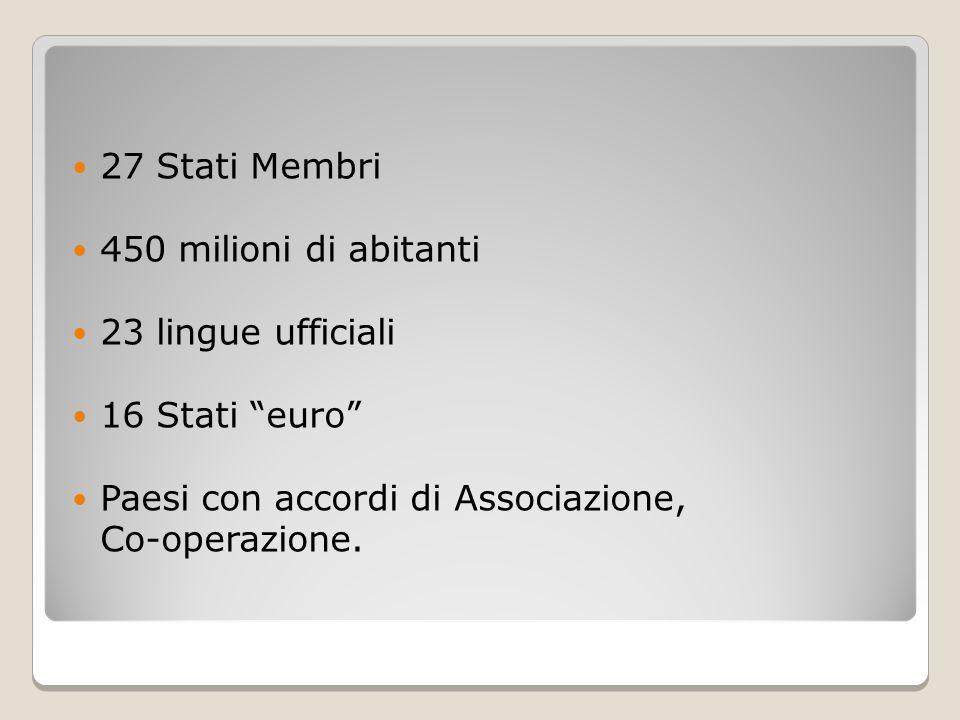 27 Stati Membri 450 milioni di abitanti. 23 lingue ufficiali. 16 Stati euro Paesi con accordi di Associazione,