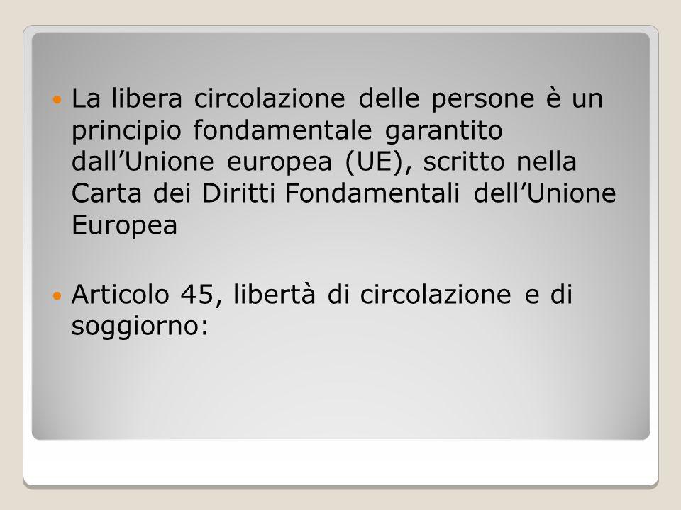 La libera circolazione delle persone è un principio fondamentale garantito dall'Unione europea (UE), scritto nella Carta dei Diritti Fondamentali dell'Unione Europea