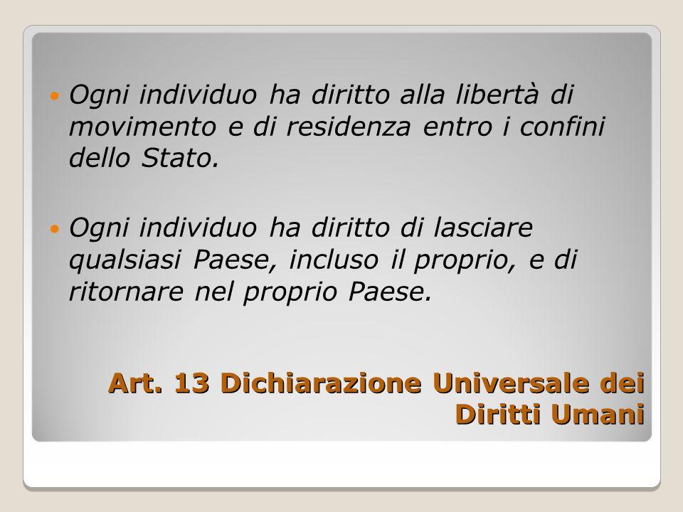 Art. 13 Dichiarazione Universale dei Diritti Umani