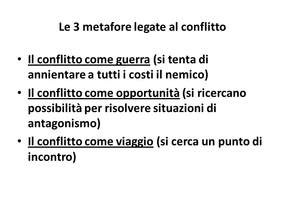 Le 3 metafore legate al conflitto