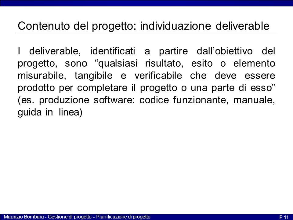 Contenuto del progetto: individuazione deliverable