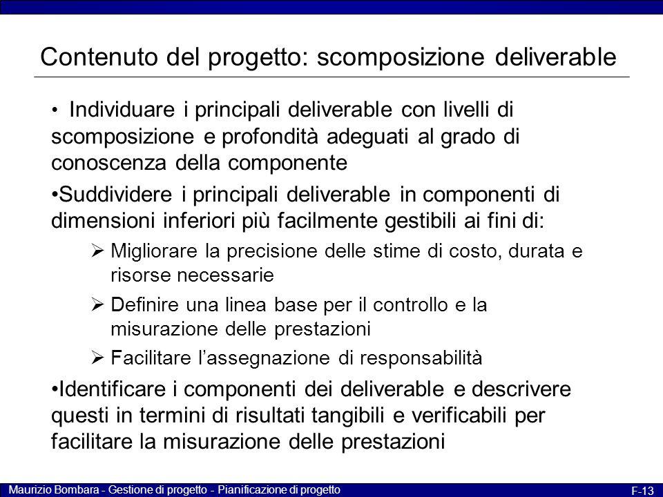 Contenuto del progetto: scomposizione deliverable