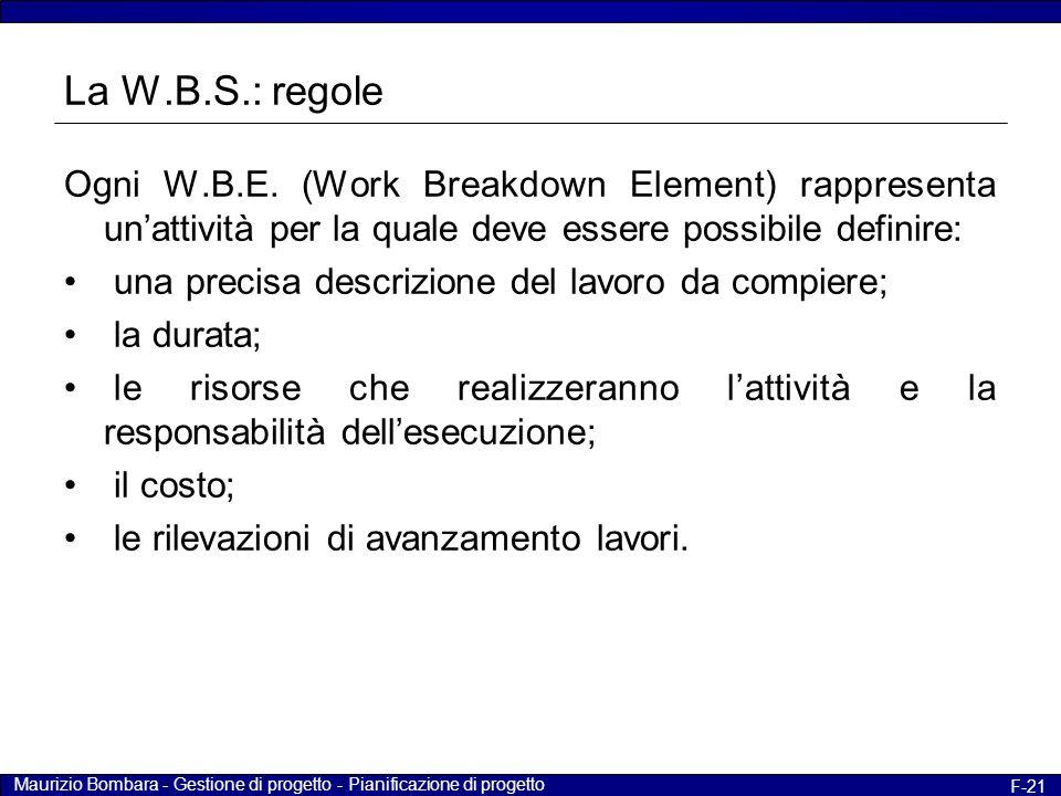 La W.B.S.: regole Ogni W.B.E. (Work Breakdown Element) rappresenta un'attività per la quale deve essere possibile definire: