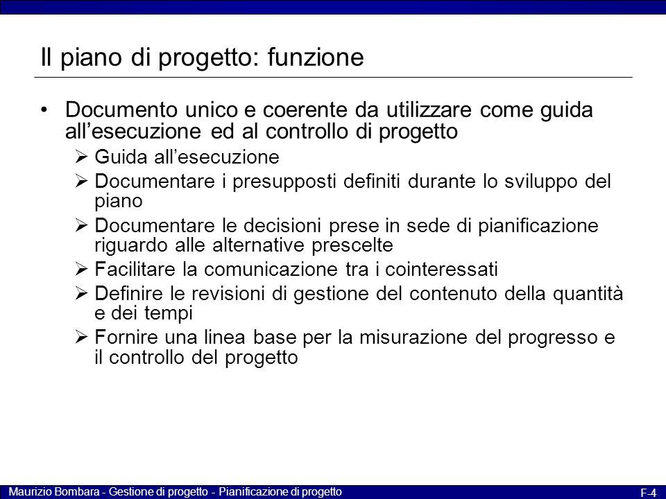 Il piano di progetto: funzione