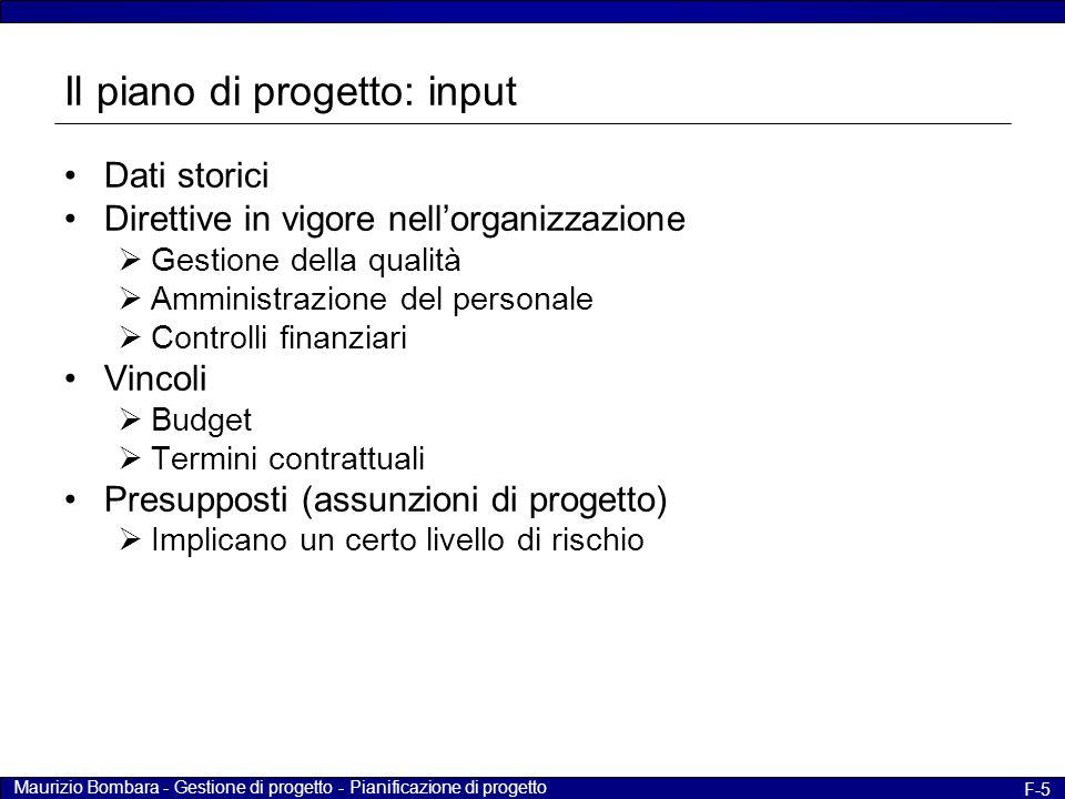 Il piano di progetto: input