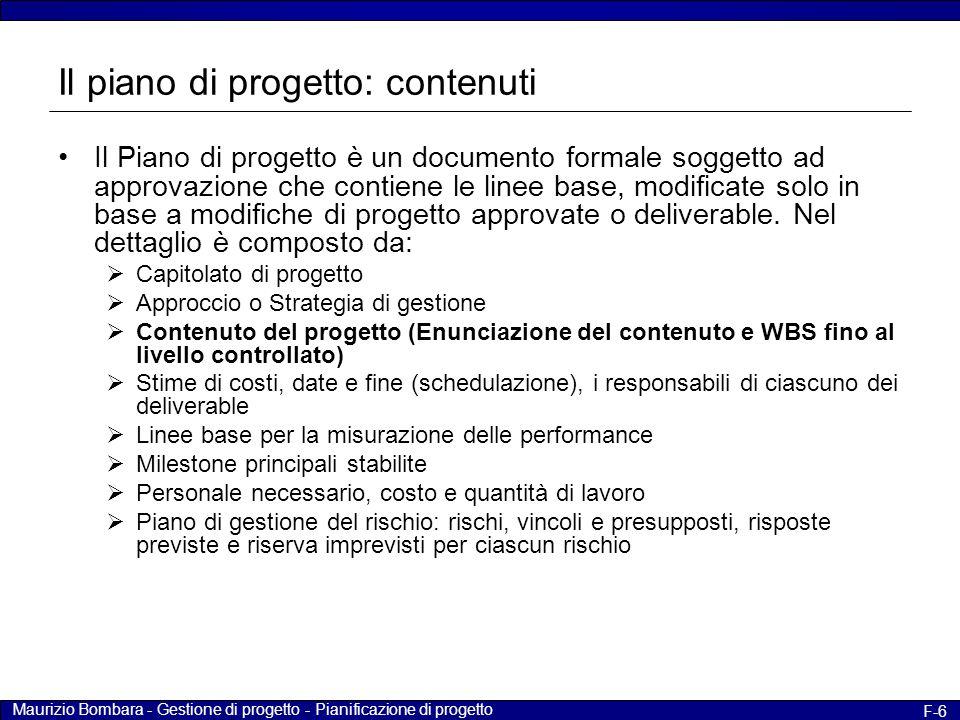 Il piano di progetto: contenuti