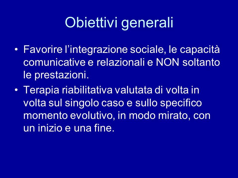 Obiettivi generali Favorire l'integrazione sociale, le capacità comunicative e relazionali e NON soltanto le prestazioni.
