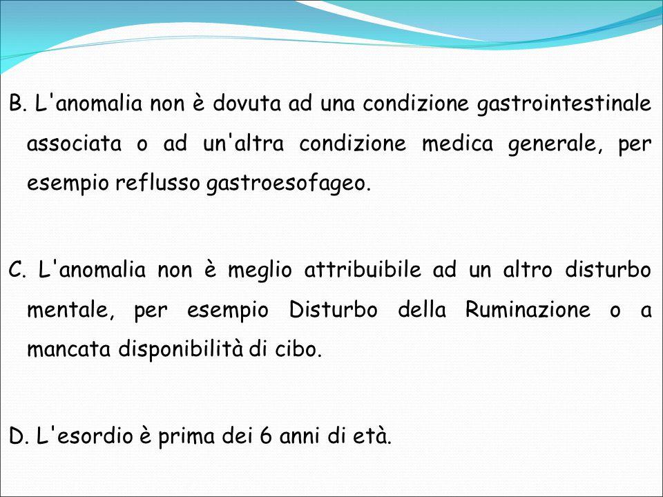 B. L anomalia non è dovuta ad una condizione gastrointestinale associata o ad un altra condizione medica generale, per esempio reflusso gastroesofageo.