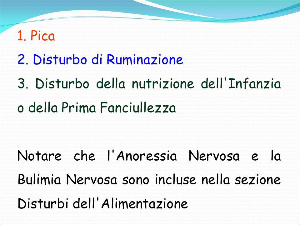 1. Pica 2. Disturbo di Ruminazione. 3. Disturbo della nutrizione dell Infanzia o della Prima Fanciullezza.