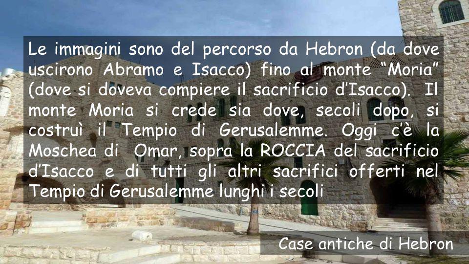 Le immagini sono del percorso da Hebron (da dove uscirono Abramo e Isacco) fino al monte Moria (dove si doveva compiere il sacrificio d'Isacco). Il monte Moria si crede sia dove, secoli dopo, si costruì il Tempio di Gerusalemme. Oggi c'è la Moschea di Omar, sopra la ROCCIA del sacrificio d'Isacco e di tutti gli altri sacrifici offerti nel Tempio di Gerusalemme lunghi i secoli