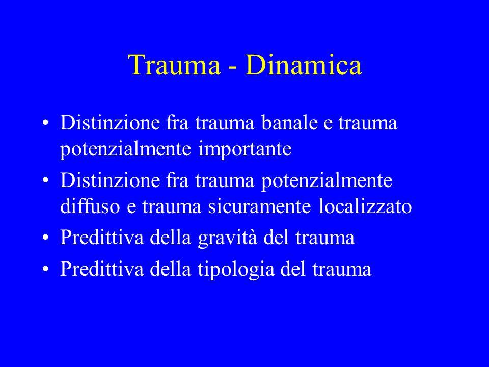 Trauma - Dinamica Distinzione fra trauma banale e trauma potenzialmente importante.