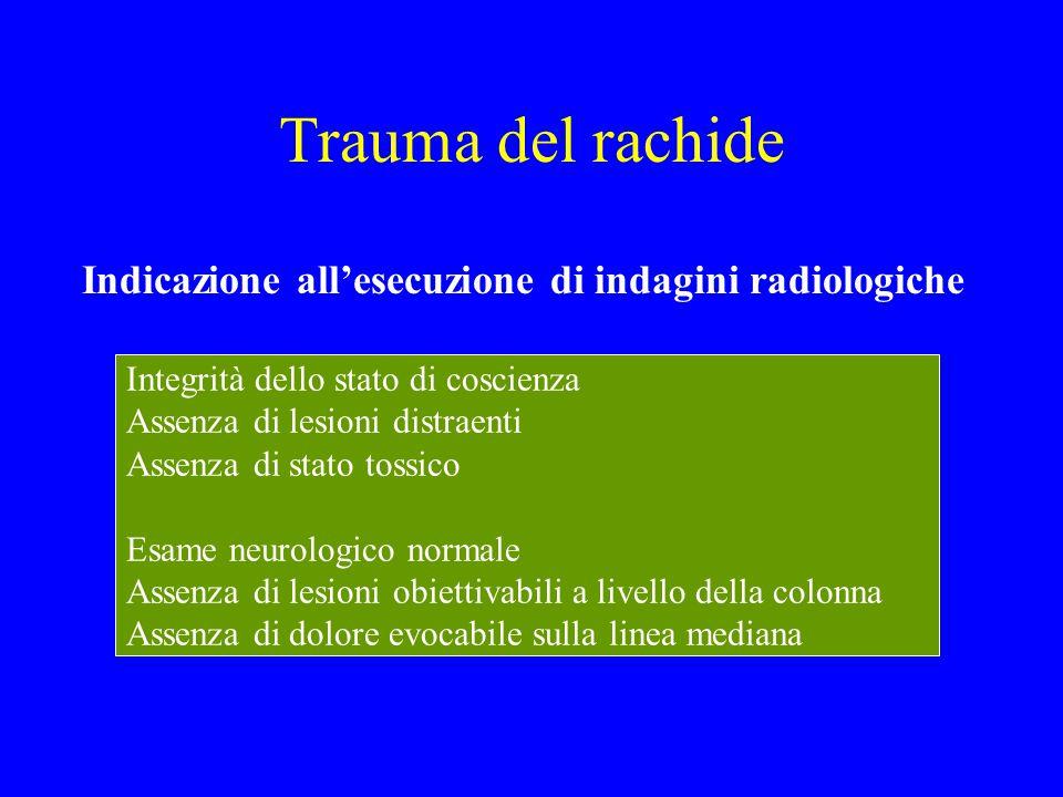 Trauma del rachide Indicazione all'esecuzione di indagini radiologiche