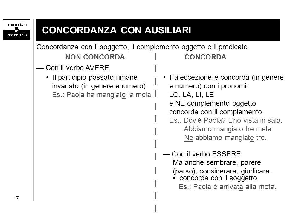 CONCORDANZA CON AUSILIARI