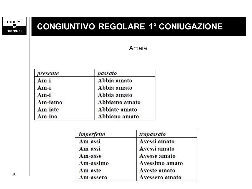 CONGIUNTIVO REGOLARE 1° CONIUGAZIONE