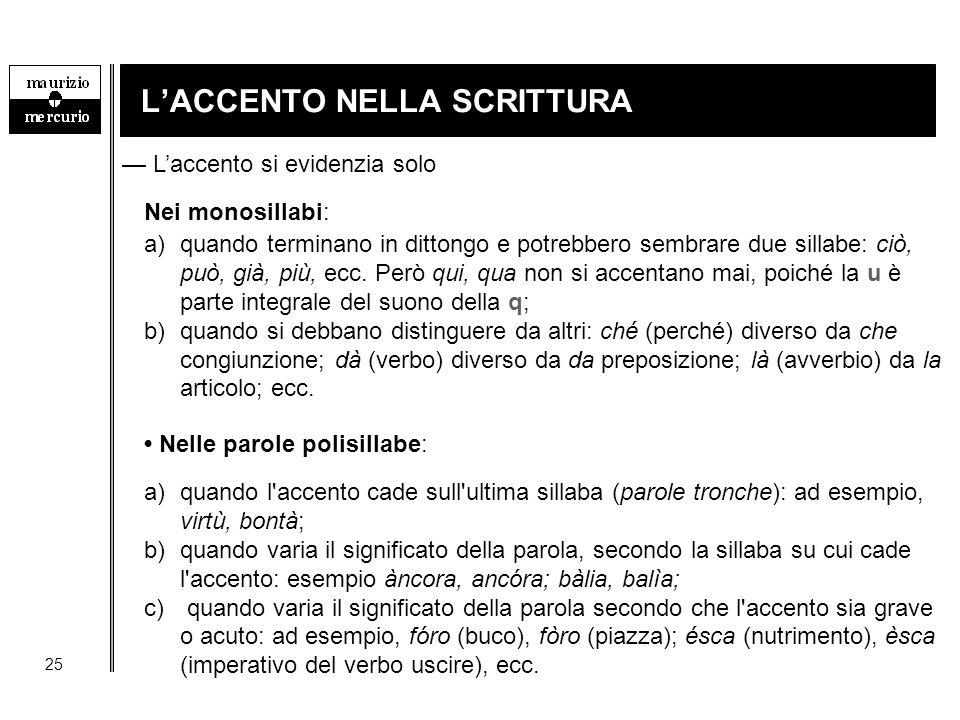 L'ACCENTO NELLA SCRITTURA