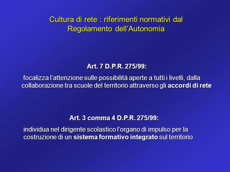 Cultura di rete : riferimenti normativi dal Regolamento dell'Autonomia