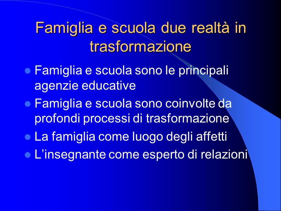 Famiglia e scuola due realtà in trasformazione