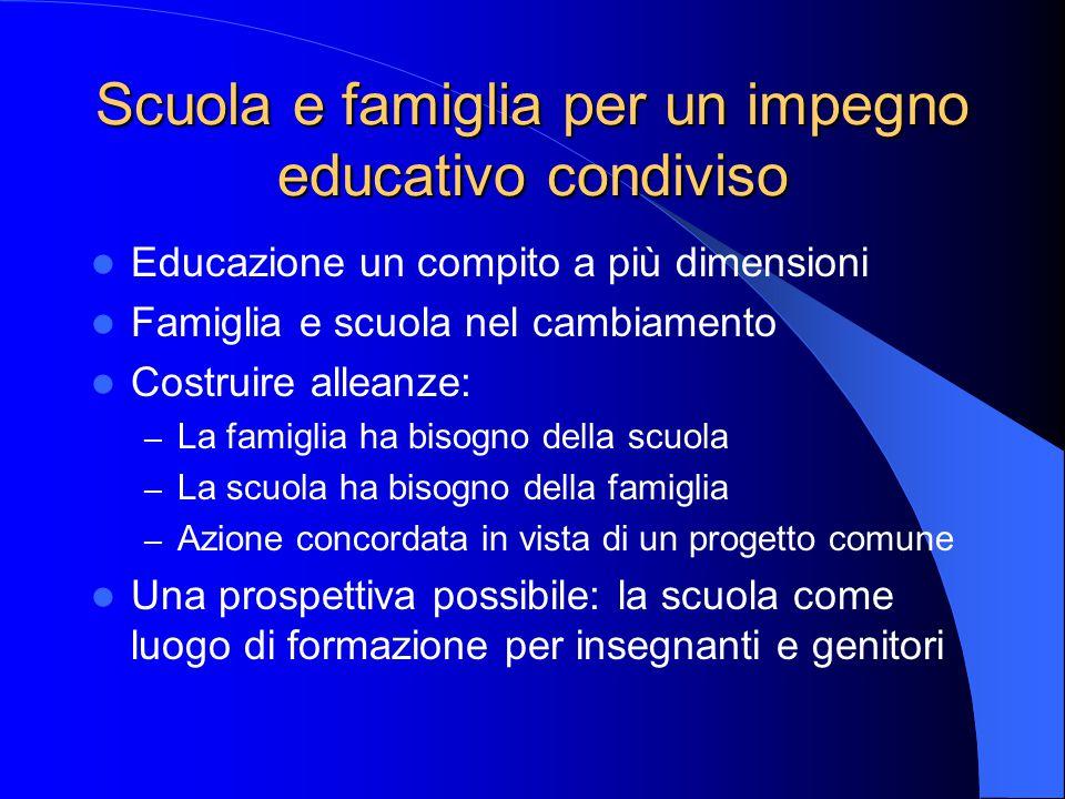 Scuola e famiglia per un impegno educativo condiviso
