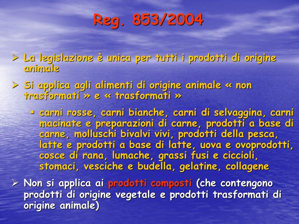 Reg. 853/2004 La legislazione è unica per tutti i prodotti di origine animale.