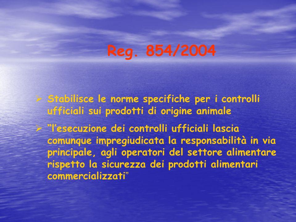 Reg. 854/2004 Stabilisce le norme specifiche per i controlli ufficiali sui prodotti di origine animale.