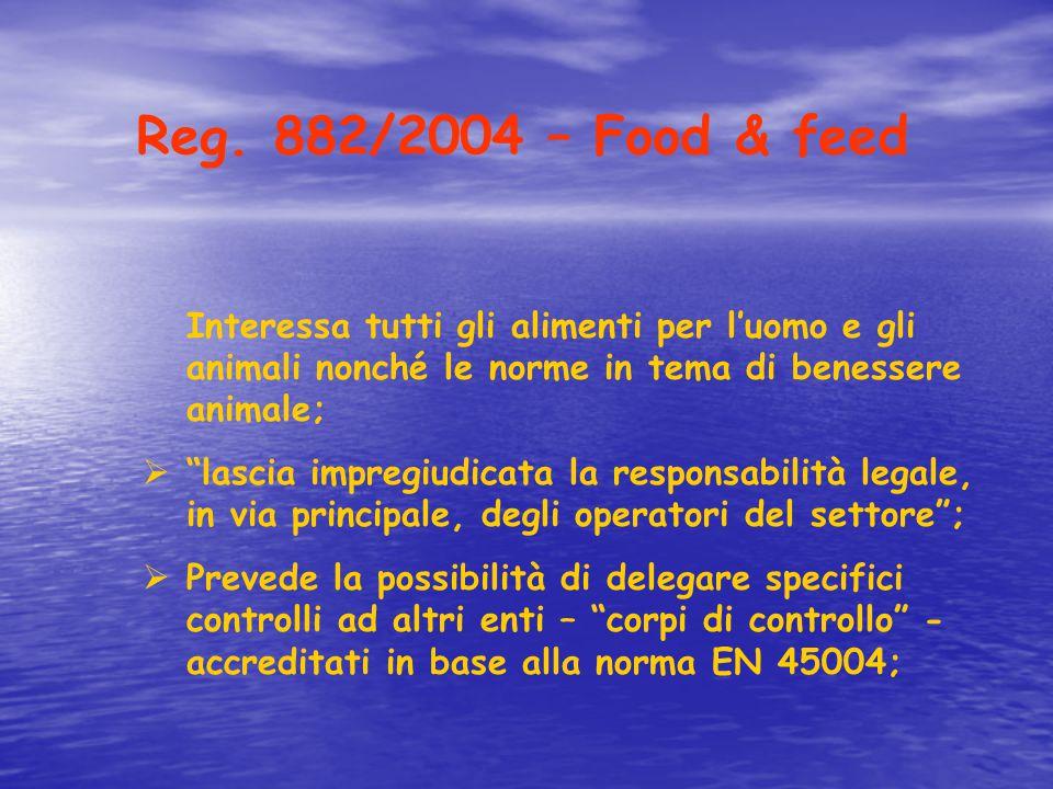Reg. 882/2004 – Food & feed Interessa tutti gli alimenti per l'uomo e gli animali nonché le norme in tema di benessere animale;