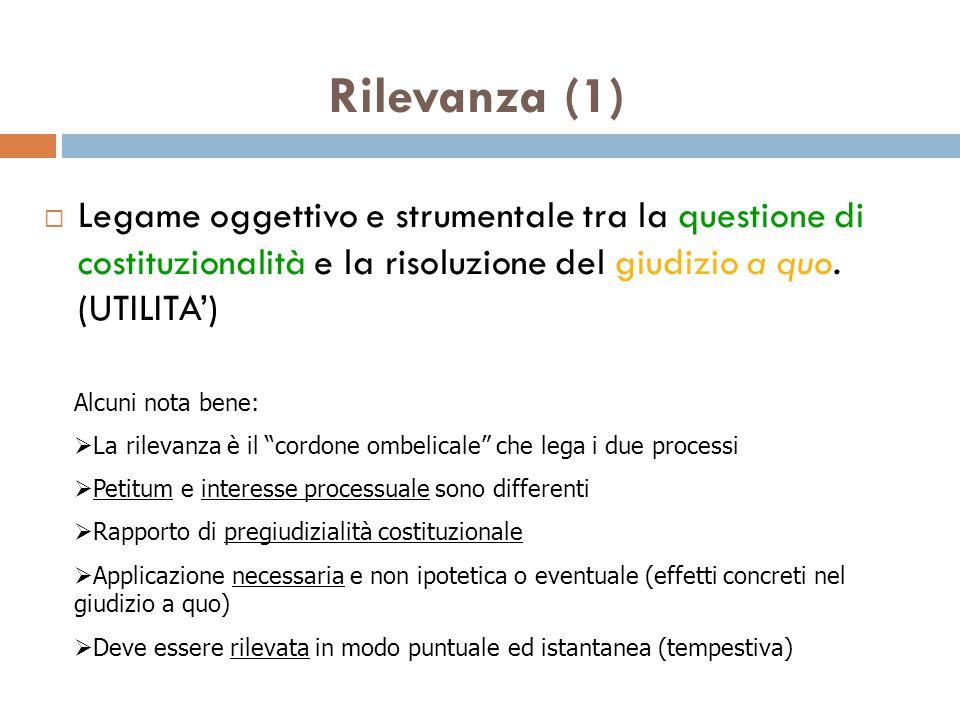 Rilevanza (1) Legame oggettivo e strumentale tra la questione di costituzionalità e la risoluzione del giudizio a quo. (UTILITA')
