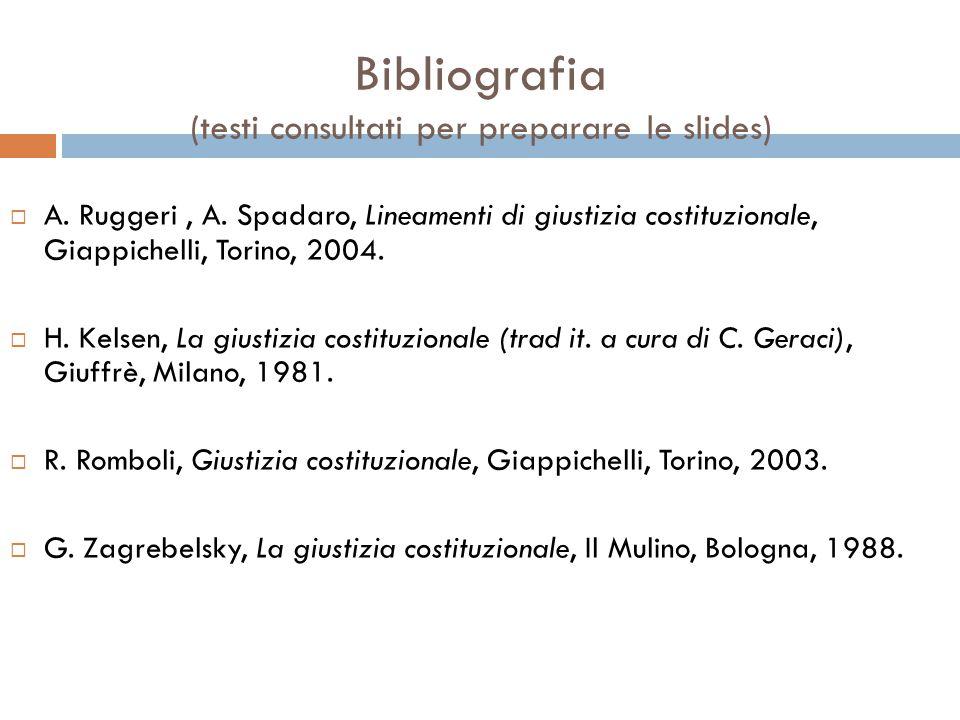 Bibliografia (testi consultati per preparare le slides)