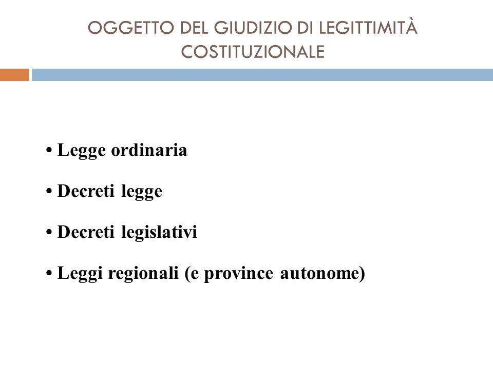 OGGETTO DEL GIUDIZIO DI LEGITTIMITÀ COSTITUZIONALE