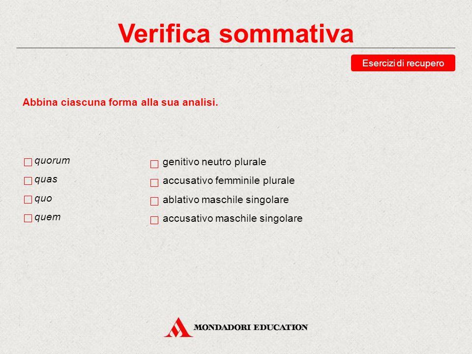 Verifica sommativa Abbina ciascuna forma alla sua analisi. quorum