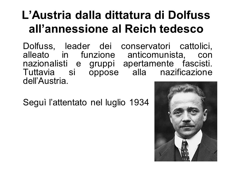 L'Austria dalla dittatura di Dolfuss all'annessione al Reich tedesco