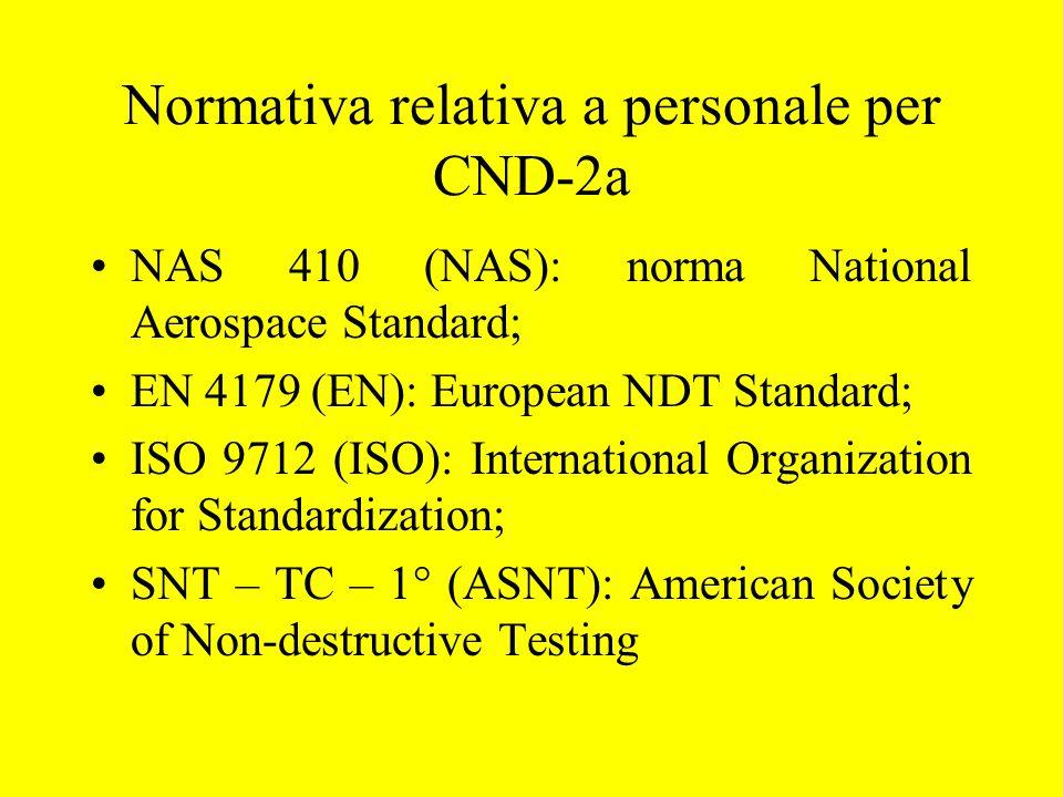 Normativa relativa a personale per CND-2a