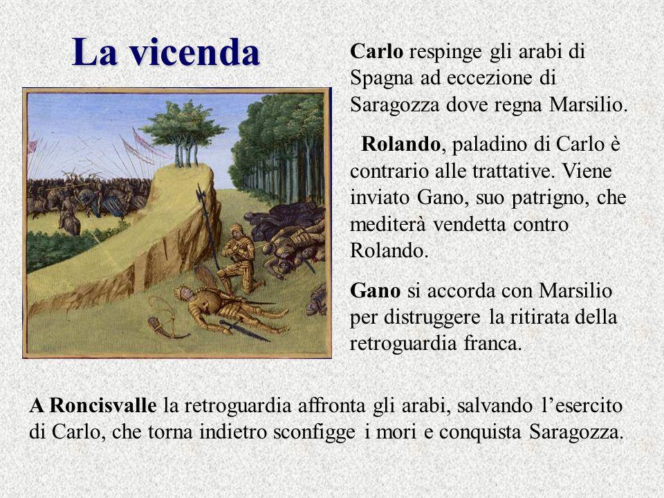 La vicenda Carlo respinge gli arabi di Spagna ad eccezione di Saragozza dove regna Marsilio.