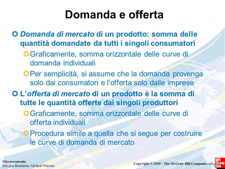 Domanda e offerta Domanda di mercato di un prodotto: somma delle quantità domandate da tutti i singoli consumatori.