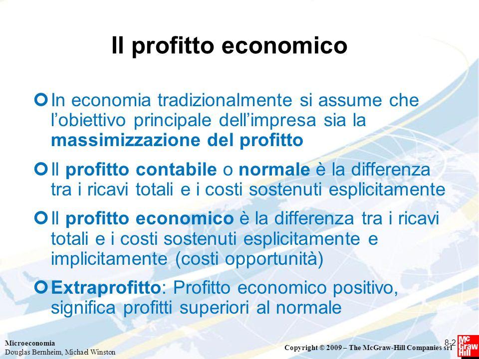 Il profitto economico In economia tradizionalmente si assume che l'obiettivo principale dell'impresa sia la massimizzazione del profitto.