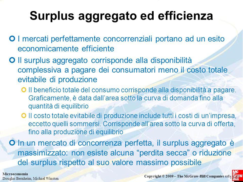 Surplus aggregato ed efficienza