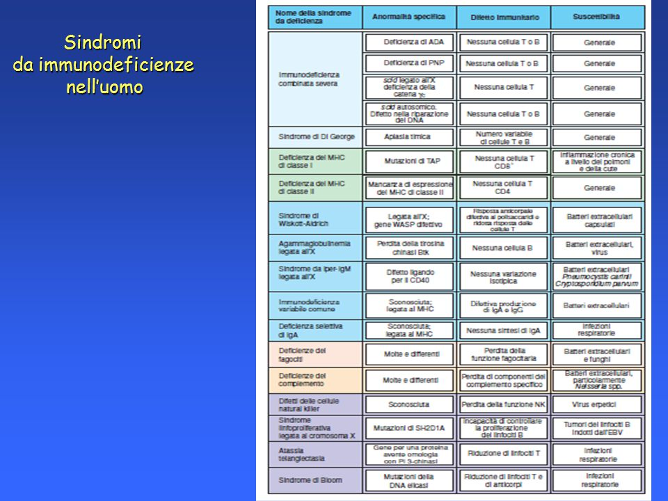 Sindromi da immunodeficienze nell'uomo