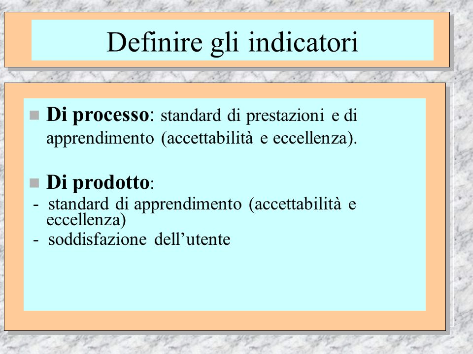 Definire gli indicatori