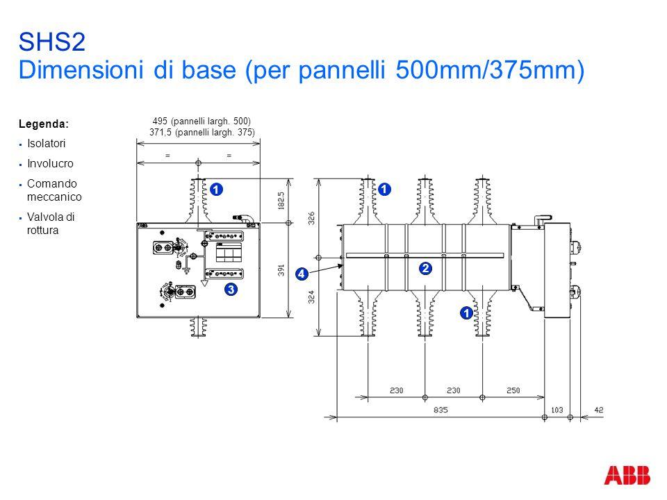SHS2 Dimensioni di base (per pannelli 500mm/375mm)