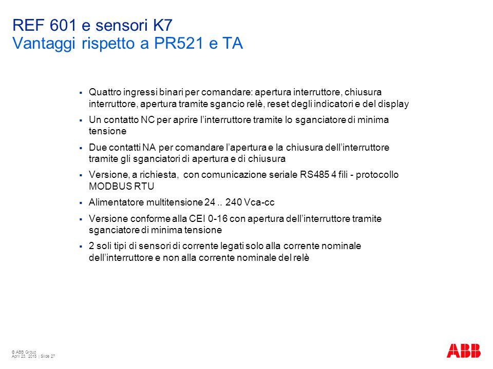REF 601 e sensori K7 Vantaggi rispetto a PR521 e TA