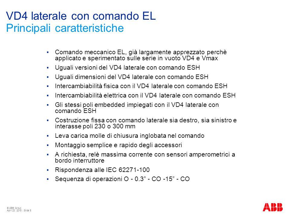 VD4 laterale con comando EL Principali caratteristiche