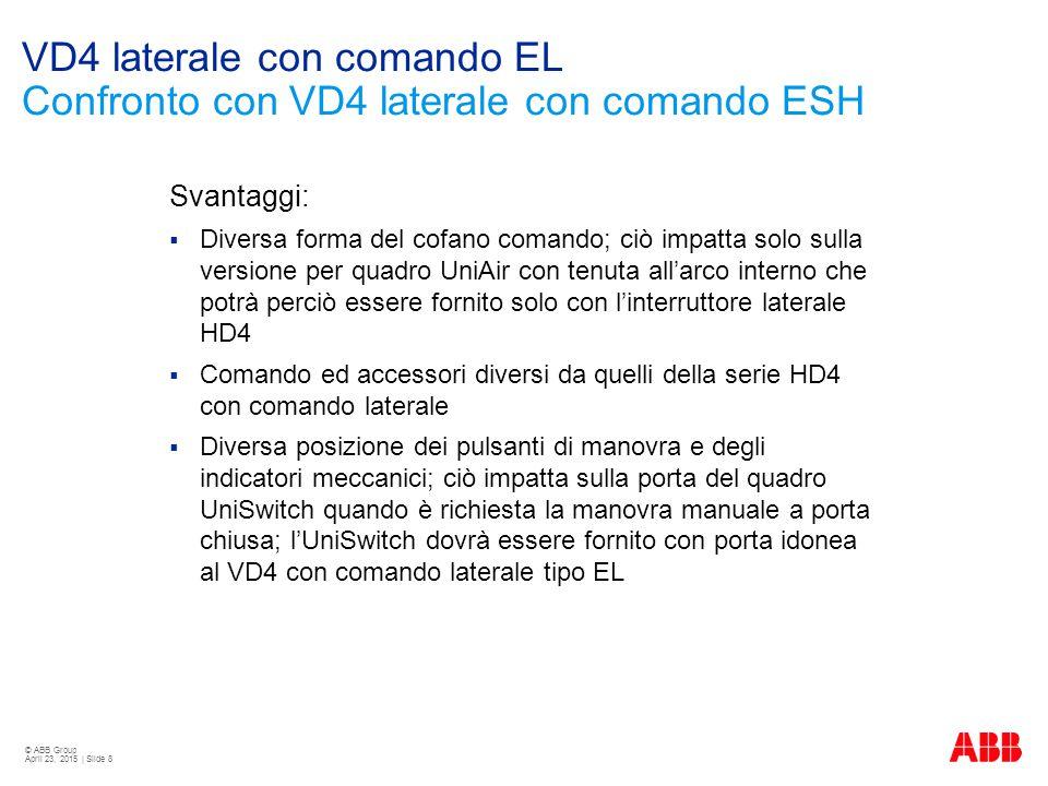 VD4 laterale con comando EL Confronto con VD4 laterale con comando ESH
