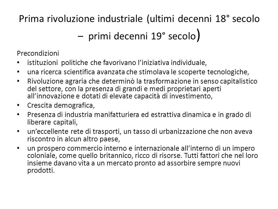 Prima rivoluzione industriale (ultimi decenni 18° secolo – primi decenni 19° secolo)
