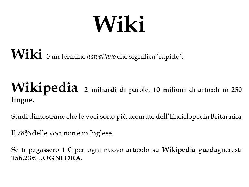 Wiki Wiki è un termine hawaiiano che significa 'rapido'.